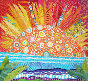 Bright Tapestries - Textiles Prints - Sun Glory Print by Susan Rienzo