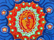 Notecards Painting Prints - Sun God Print by Genevieve Esson