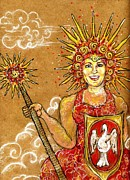 Warrior Goddess Mixed Media Posters - Sun Goddess Poster by Suzan  Sommers