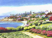 Layer Painting Prints - Sun Gold Point La Jolla Print by Mary Helmreich