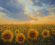 Golden Sunlight Paintings - Sun Harmony by Kiril Stanchev
