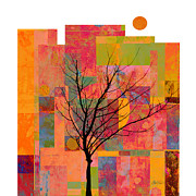 Artists Mixed Media Posters - Sun in The City - abstract - art  Poster by Ann Powell
