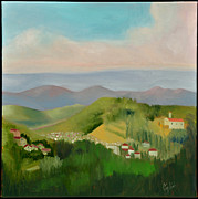 Hill Top Village Prints - Sun Lite Valley Print by Gloria Cigolini-DePietro
