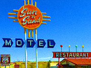 Hotels Framed Prints - Sun n Sand Motel 20130307 Framed Print by Wingsdomain Art and Photography