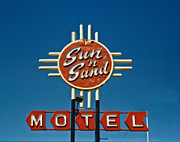 Nostalgic Sign Prints - Sun n Sand Motel Print by Matthew Bamberg