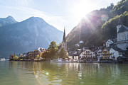 Sunflare Framed Prints - Sun Over Hallstatt Framed Print by Rhonda Krause