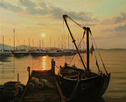 Quay Painting Prints - Sun Path Print by Kiril Stanchev