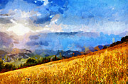 Sun Rays Painting Prints - Sun rays in mountains painting Print by Magomed Magomedagaev