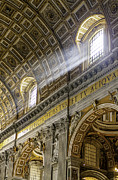 Dome Light Posters - Sun Rays in St. Peters Basilica Poster by Susan  Schmitz