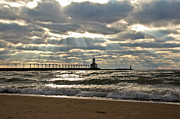 Indiana Dunes Prints - Sun Rays over Lighthouse Print by Lynne Dohner