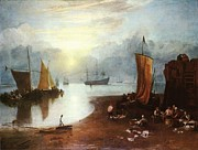 Romanticism Posters - Sun rising through Vagour Fishermen cleaning and selling fish Poster by Joseph Mallord William Turner