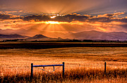 Montana Sky Framed Prints - Sun Sets On Summer Framed Print by Katie LaSalle-Lowery