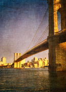 Vintage River Scenes Posters - Sun sets on the Brooklyn Poster by Joann Vitali