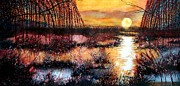 Fauna Painting Posters - Sun sets on the marsh Poster by Janine Riley
