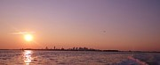 Beautiful Purples Prints - Sun Setting over Boston Print by Laura Lee Zanghetti