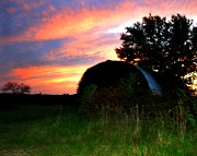 Farming Barns Prints - Sun Setting Print by Trish Clark