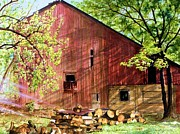 Old Barn Painting Posters - Sun Stroked Poster by Barbara Jewell