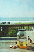 Shell Texture Posters - Sun Tea at the Beach Poster by Kay Pickens