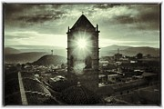 Bolivia Guide Prints - Sun Tower Of Potosi Black And White Vintage  Print by For Ninety One Days