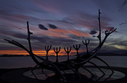 Modern Sculpture Framed Prints - Sun Voyager Viking Boat in Reykjavik Framed Print by Ruben Vicente