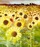 Field Of Sunflowers Paintings - Sun Worshippers by Diane Marcotte