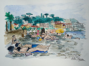 South Of France Mixed Media - Sunbathing by Helen J Pearson