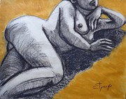 Contemporary Drawings - Sunbathing Nude 2 by Carmen Tyrrell
