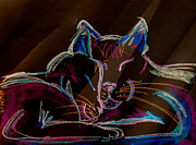 Kittens Digital Art Originals - Sunbeam Cats by Michelle Wolff