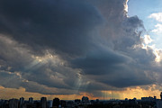 Crepuscular Rays Photos - Sunbeams Over City by Charline Xia