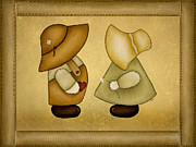 Handmade Digital Art Prints - Sunbonnet Sue and Overall Sam Print by Brenda Bryant