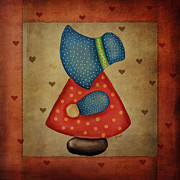 Quilt Blocks Digital Art Prints - Sunbonnet Sue in Red and Blue Print by Brenda Bryant