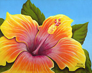 Firecracker Paintings - Sunburst Hibiscus by Adam Johnson