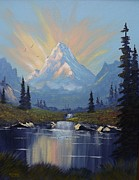Pallet Knife Framed Prints - Sunburst Landscape Framed Print by Richard Faulkner