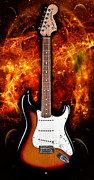 Fender Strat Digital Art - Sunburst Stratocaster by Peter Chilelli
