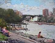 Fishing Boats Originals - Sunday at Port Credit Park Mississauga by Ylli Haruni