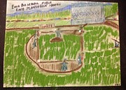 Hawaiian Folk Art Drawings - Sunday baseball Ewa Plantation by Willard Hashimoto