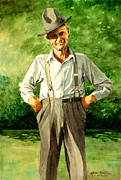 Suspenders Painting Posters - Sunday Best Poster by Karen Barton