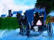 Horse And Buggy Digital Art Prints - Sunday Buggy Ride Print by Ted Azriel