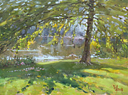 Lakeshore Paintings - Sunday by the Pond in Port Credit Mississauga by Ylli Haruni