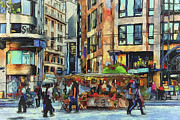 Old Town Digital Art Framed Prints - Sunday city walk Framed Print by Yury Malkov