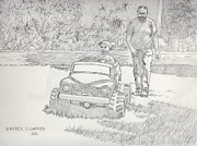 Father And Son Drawings - Sunday Drive by Derek O Gorman