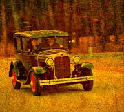 Turn Of The Century Mixed Media Metal Prints - Sunday Drive Metal Print by Terri Gostola