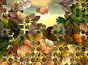 Leaf Digital Art Digital Art Prints - Sunday Garden Print by Wendy J St Christopher