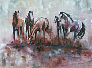 Wild Horses Framed Prints - Sunday Gathering Framed Print by Cher Devereaux