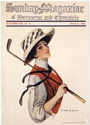 Nineteen Tens Drawings - Sunday Magazine 1910s Usa Golf Womens by The Advertising Archives