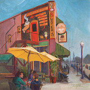 Streetscene Paintings - Sunday Morning by Athena  Mantle