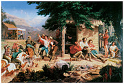 Miners Paintings - Sunday Morning in the Mines by Charles Christian Nahl