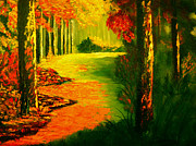 Sanchez Painting Prints - Sunday morning in the woods Print by Manuel Sanchez