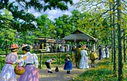 Summer Dresses Paintings - Sunday Picnic by Michael Swanson
