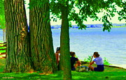 Summer Along The Canal Paintings - Sunday Picnic On The Lake Maple Trees At The Canal Pte Claire Montreal Waterscene Carole Spandau by Carole Spandau
